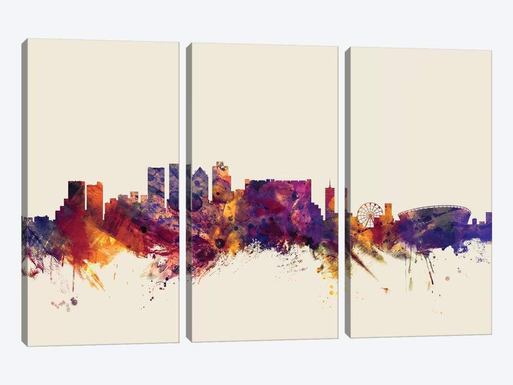 Skyline Series: Cape Town, South Africa On Beige by Michael Tompsett 3-piece Canvas Artwork
