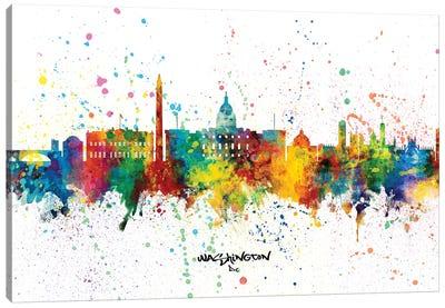 Washington DC Skyline Splash Canvas Art Print