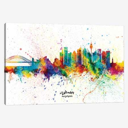 Sydney Australia Skyline Splash Canvas Print #MTO2271} by Michael Tompsett Art Print