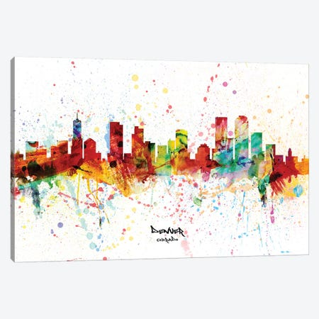 Denver Colorado Skyline Splash Canvas Print #MTO2272} by Michael Tompsett Art Print