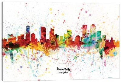Denver Colorado Skyline Splash Canvas Art Print
