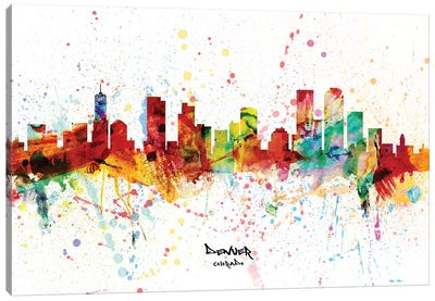 Denver Colorado Skyline Splash Canvas Art Print