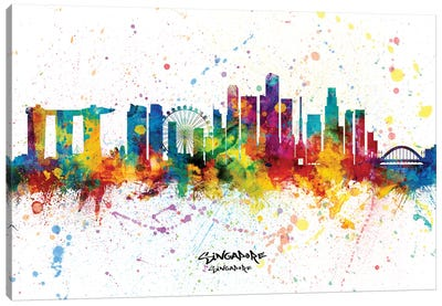 Singapore Singapore Skyline Splash Canvas Art Print