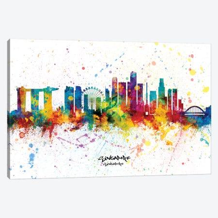 Singapore Singapore Skyline Splash Canvas Print #MTO2273} by Michael Tompsett Art Print