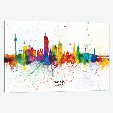 Vienna Austria Skyline Splash Canvas Print #MTO2274} by Michael Tompsett Canvas Artwork