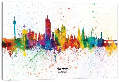 Vienna Austria Skyline Splash Canvas Art Print