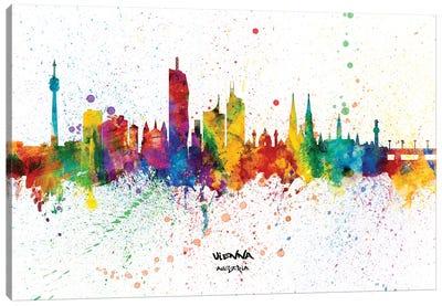 Vienna Austria Skyline Splash Canvas Art Print