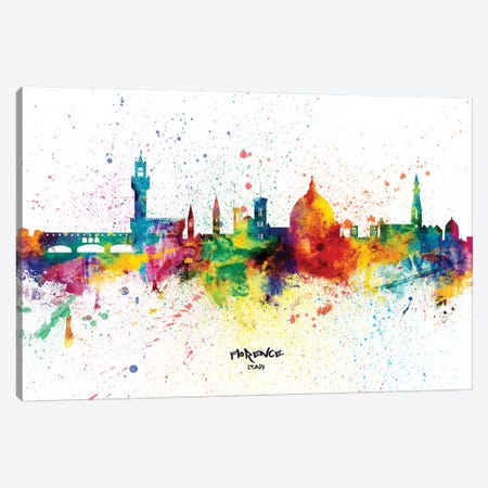 Florence Italy Skyline Splash Canvas Print #MTO2275} by Michael Tompsett Canvas Wall Art