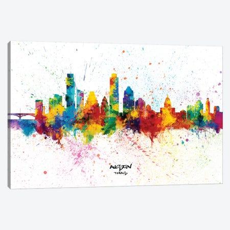 Austin Texas Skyline Splash Canvas Print #MTO2276} by Michael Tompsett Canvas Wall Art