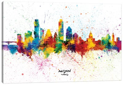 Austin Texas Skyline Splash Canvas Art Print