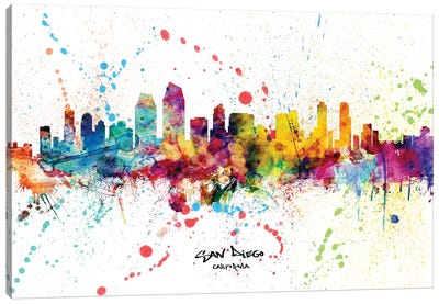 San Diego California Skyline Splash Canvas Art Print