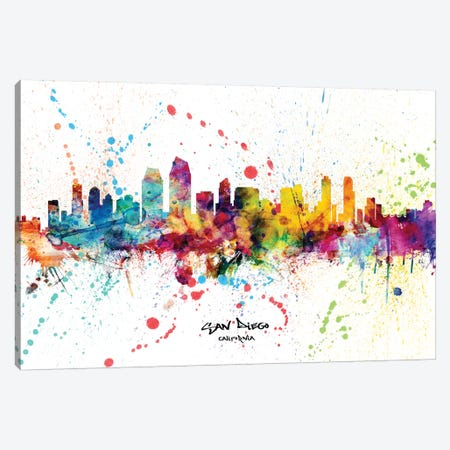 San Diego California Skyline Splash Canvas Print #MTO2277} by Michael Tompsett Canvas Wall Art