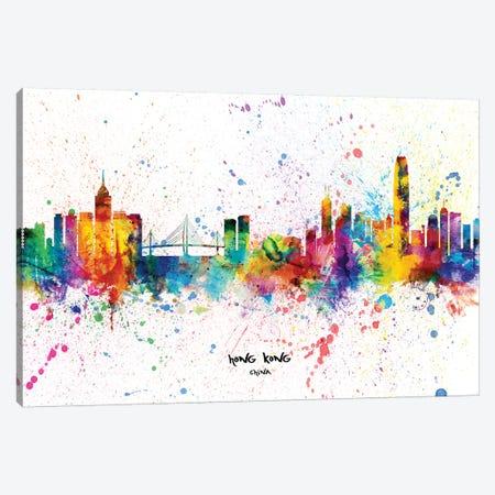 Hong Kong China Skyline Splash Canvas Print #MTO2278} by Michael Tompsett Art Print