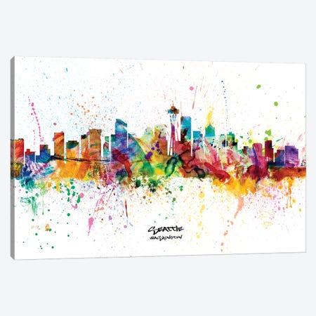 Seattle Washington Skyline Splash Canvas Print #MTO2279} by Michael Tompsett Canvas Art Print