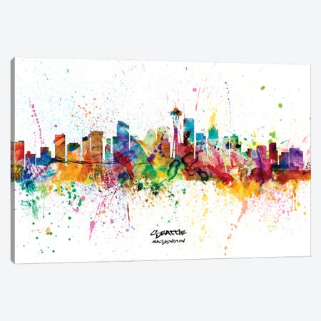 Seattle Washington Skyline Splash Canvas Print #MTO2279} by Michael Tompsett Canvas Art Print