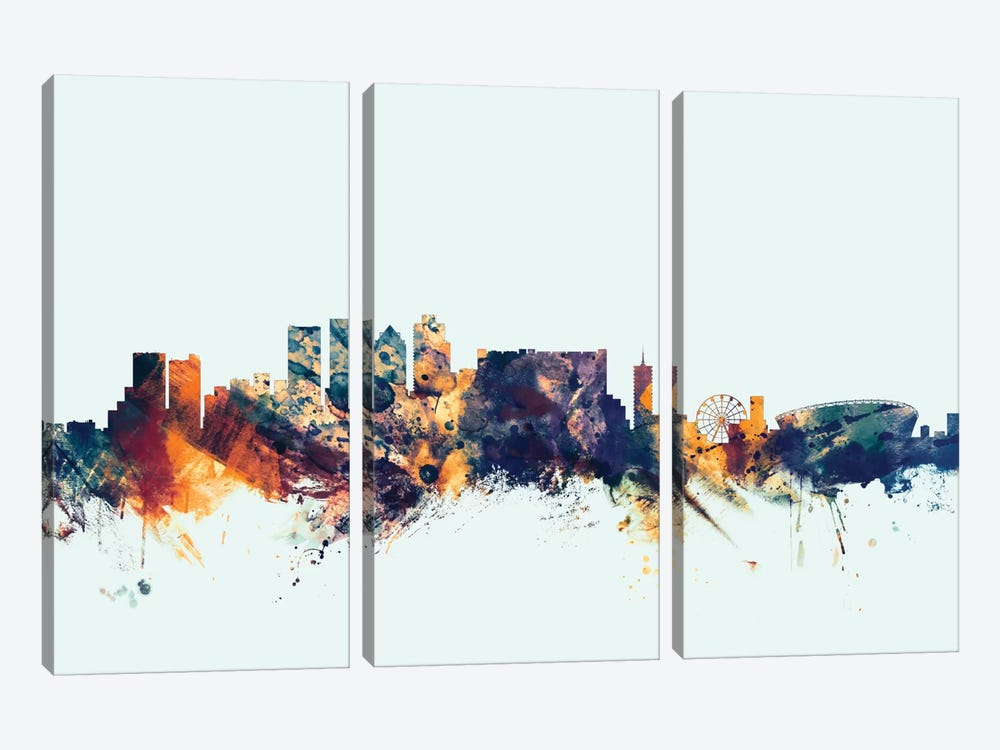 Cape Town, South Africa On Blue by Michael Tompsett 3-piece Art Print