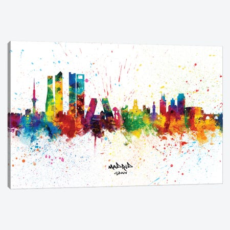 Madrid Spain Skyline Splash Canvas Print #MTO2280} by Michael Tompsett Canvas Wall Art