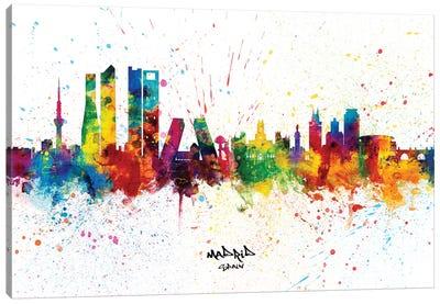 Madrid Spain Skyline Splash Canvas Art Print