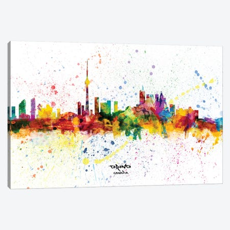 Toronto Canada Skyline Splash Canvas Print #MTO2281} by Michael Tompsett Canvas Artwork