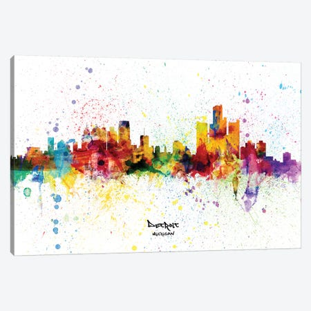 Detroit Michigan Skyline Splash Canvas Print #MTO2282} by Michael Tompsett Canvas Artwork