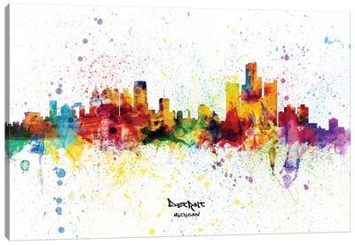 Detroit Michigan Skyline Splash Canvas Art Print