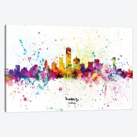 Dallas Texas Skyline Splash Canvas Print #MTO2283} by Michael Tompsett Canvas Art