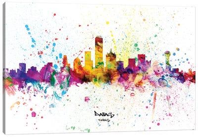 Dallas Texas Skyline Splash Canvas Art Print