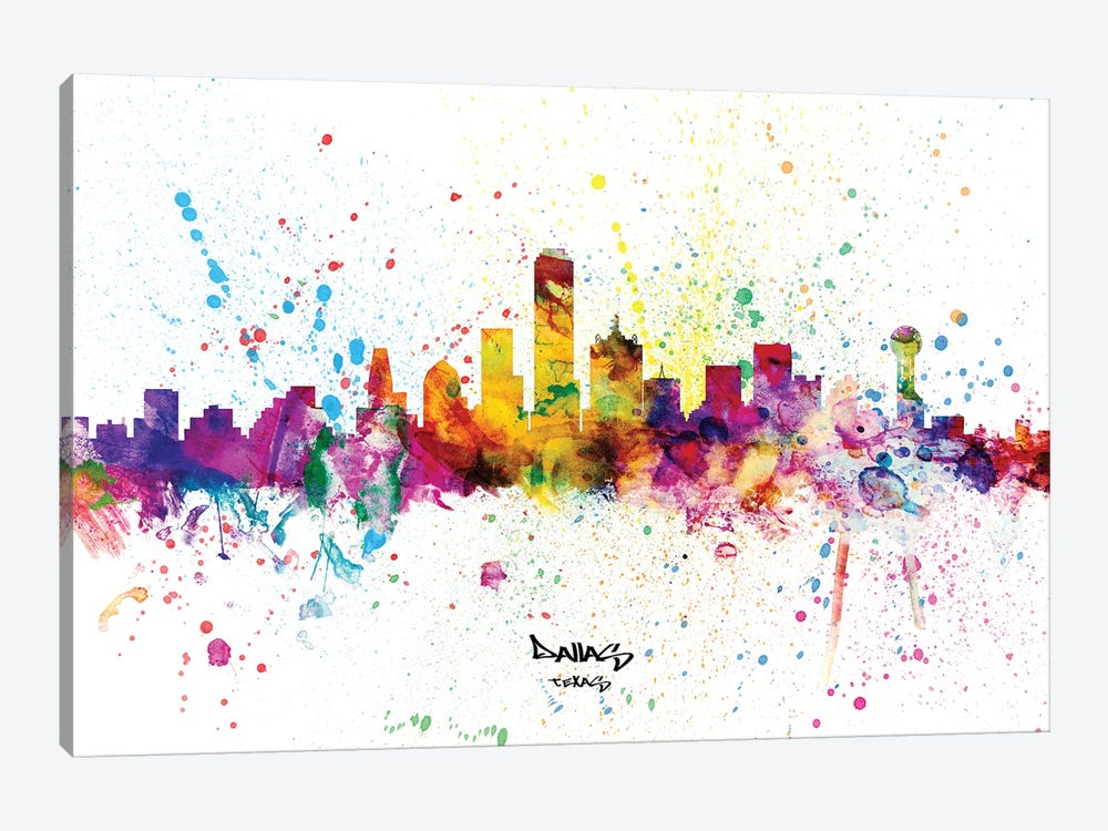 Dallas Texas Skyline Splash by Michael Tompsett 1-piece Canvas Art Print