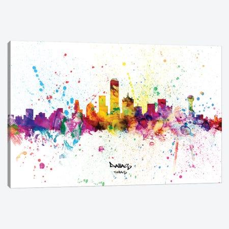 Dallas Texas Skyline Splash Canvas Print #MTO2283} by Michael Tompsett Canvas Art