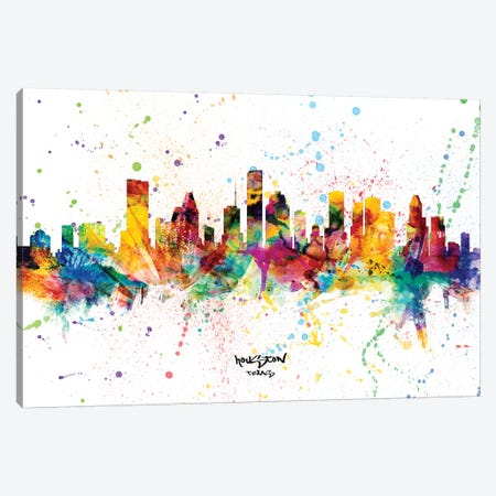 Houston Texas Skyline Splash Canvas Print #MTO2284} by Michael Tompsett Canvas Art Print