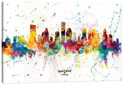 Houston Texas Skyline Splash Canvas Art Print