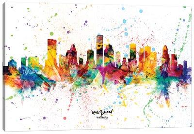 Houston Texas Skyline Splash Canvas Art Print