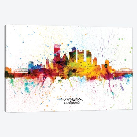 Pittsburgh Pennsylvania Skyline Splash Canvas Print #MTO2285} by Michael Tompsett Canvas Art Print