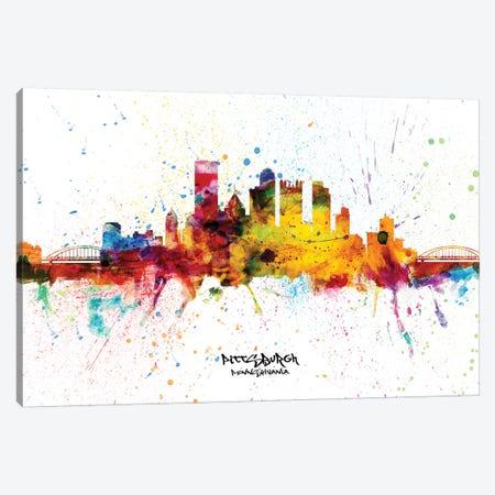 Pittsburgh Pennsylvania Skyline Splash Canvas Print #MTO2285} by Michael Tompsett Canvas Art Print