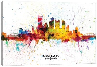 Pittsburgh Pennsylvania Skyline Splash Canvas Art Print