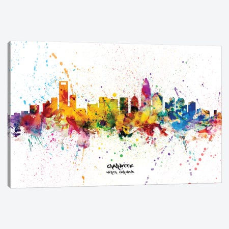 Charlotte North Carolina Skyline Splash 3-Piece Canvas #MTO2286} by Michael Tompsett Art Print