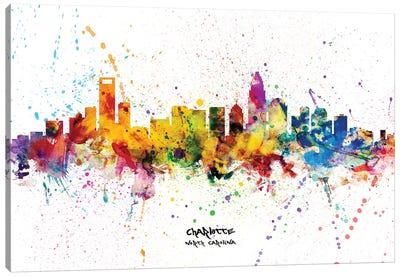 Charlotte North Carolina Skyline Splash Canvas Art Print