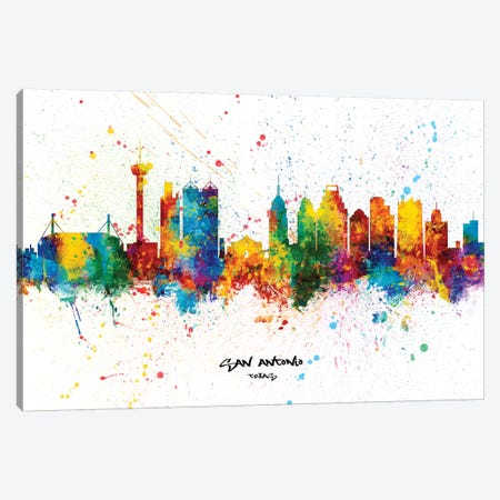 San Antonio Texas Skyline Splash Canvas Print #MTO2287} by Michael Tompsett Canvas Print