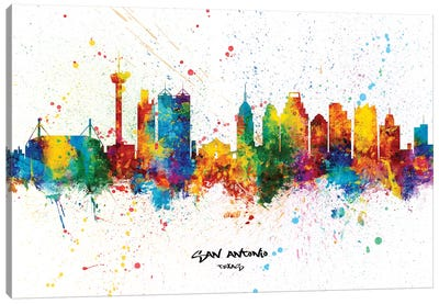 San Antonio Texas Skyline Splash Canvas Art Print