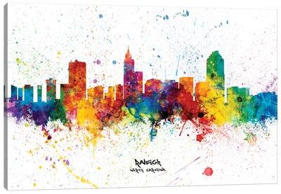 Raleigh North Carolina Skyline Splash Canvas Art Print