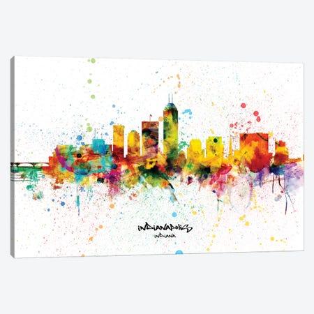 Indianapolis Indiana Skyline Splash Canvas Print #MTO2289} by Michael Tompsett Canvas Artwork
