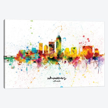 Indianapolis Indiana Skyline Splash Canvas Print #MTO2289} by Michael Tompsett Canvas Artwork