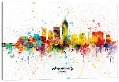 Indianapolis Indiana Skyline Splash Canvas Art Print