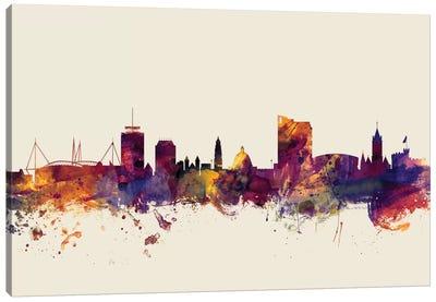 Skyline Series: Cardiff, Wales, United Kingdom On Beige Canvas Print #MTO228