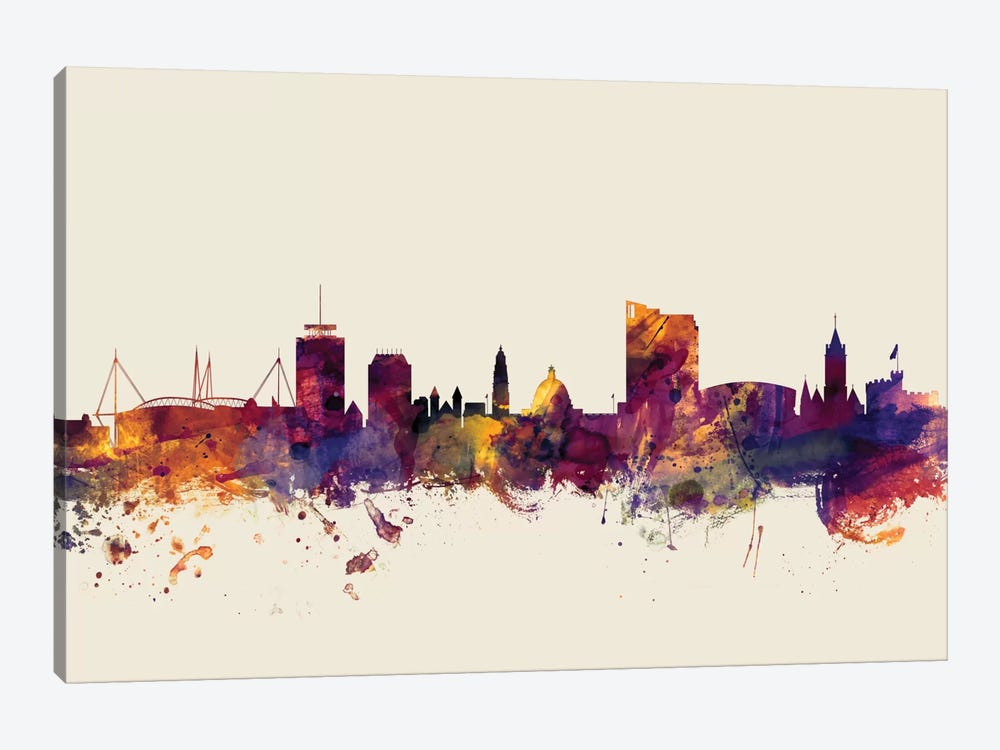 Skyline Series: Cardiff, Wales, United Kingdom On Beige 1-piece Canvas Artwork