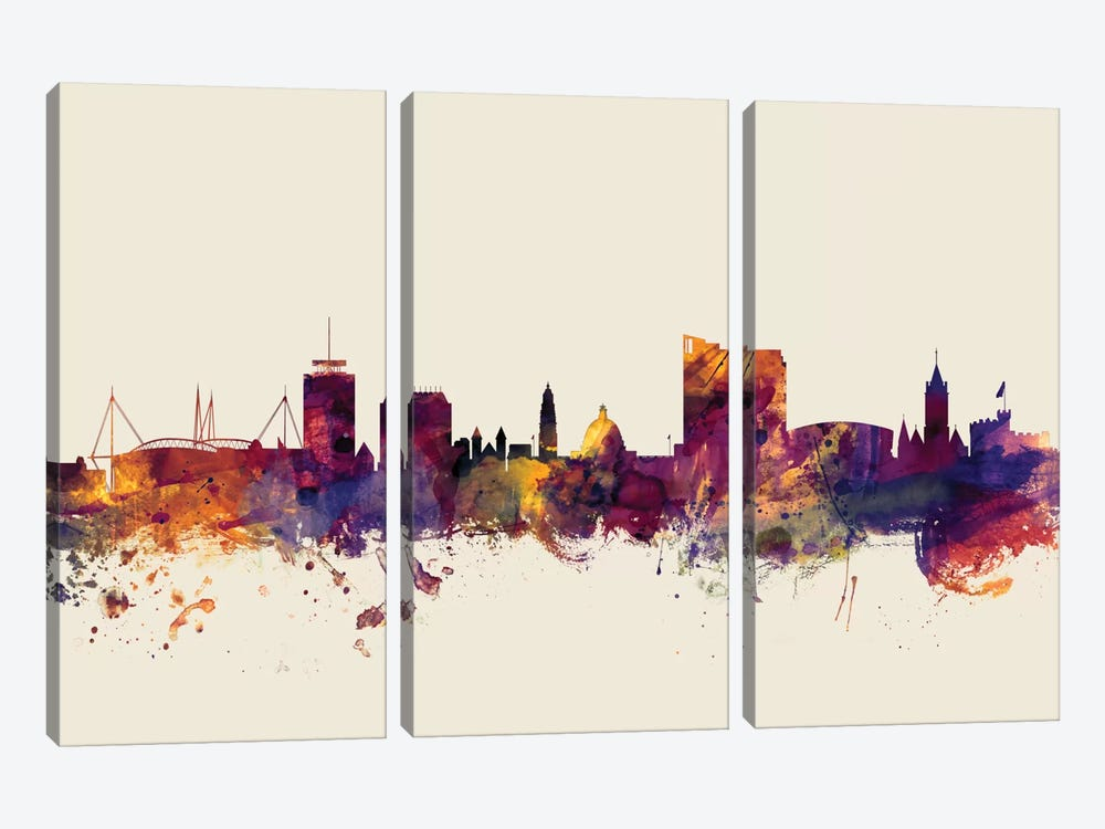 Skyline Series: Cardiff, Wales, United Kingdom On Beige by Michael Tompsett 3-piece Canvas Art