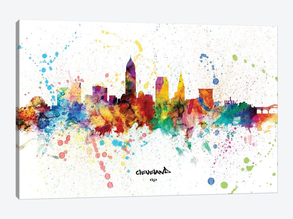 Cleveland Ohio Skyline Splash by Michael Tompsett 1-piece Canvas Print