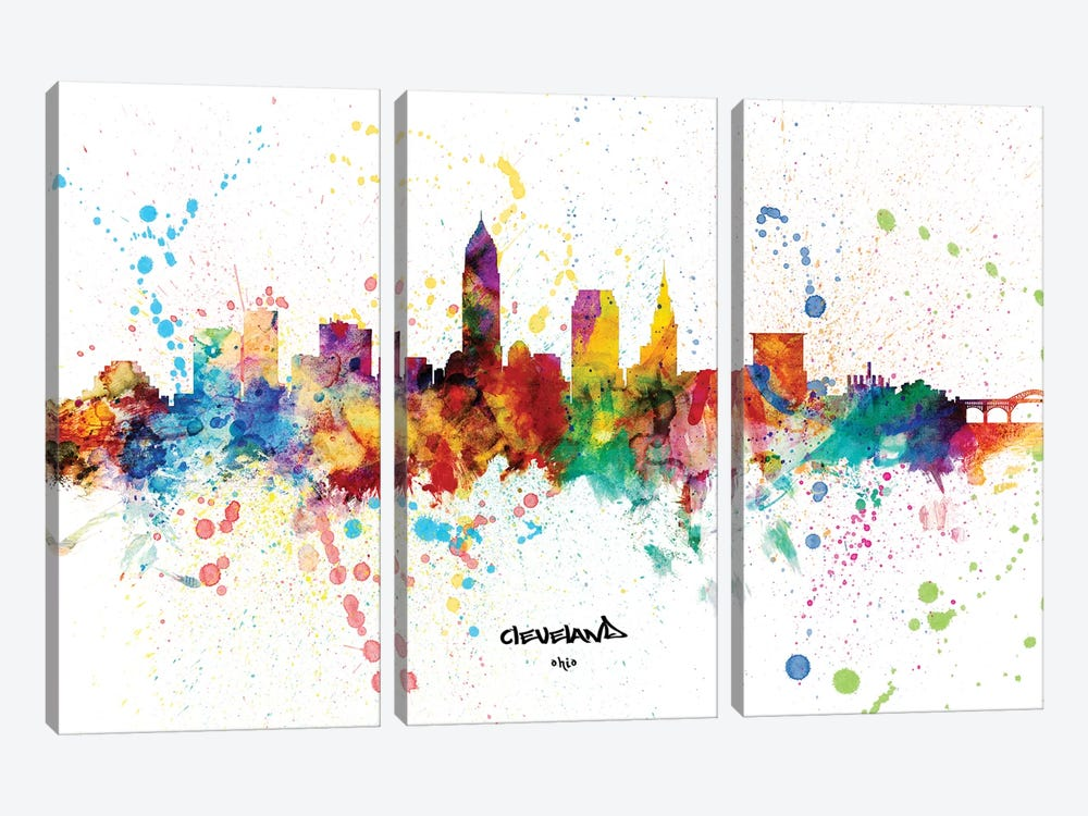 Cleveland Ohio Skyline Splash by Michael Tompsett 3-piece Art Print