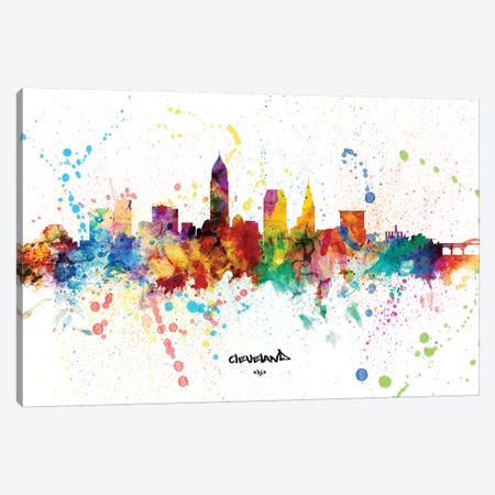 Cleveland Ohio Skyline Splash Canvas Print #MTO2290} by Michael Tompsett Art Print