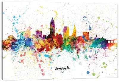 Cleveland Ohio Skyline Splash Canvas Art Print